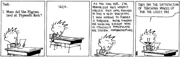 calvin and hobbes test taking