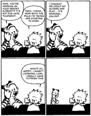 One of many knock-off comic strips, speculating the future of the relationship between Calvin and his stuffed Tiger.