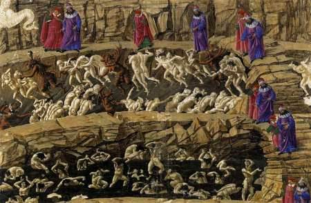 Sandro Boticelli's depiction of hell based on Dante's Inferno