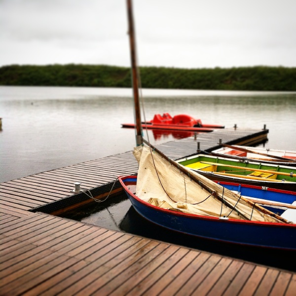 The view from the docks at the camp in northern Iceland on a very cool, wet, and dreary day. Perfect day for ice cream!