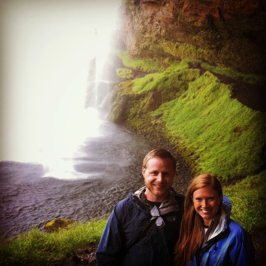 A picture from our travels in Iceland in front of a pretty waterfall the name of which has a bunch of letters and sounds cool but I'll never be able to pronounce.